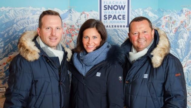 Der neue Chef: Arthur Moser (li.) mit Christina König (Finanzen) und Wolfgang Hettegger (Technik) (Bild: Snow Space Salzburg)