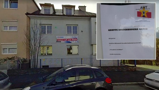 Die Gruppe Aktionistische Widerstandsbewegung Tirol bekannte sich zu dem Fäkalangriff auf die Landesgeschäftsstelle der Tiroler FPÖ. (Bild: Google Street View, FPÖ Tirol)