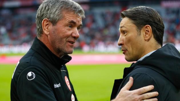 Friedhelm Funkel (li.) mit Ex-Bayern-Coach Niko Kovac (Bild: AP)