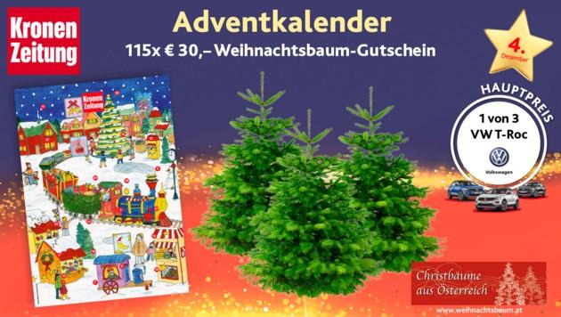 (Bild: Kronen Zeitung, VW, weihnachtsbaum.at)