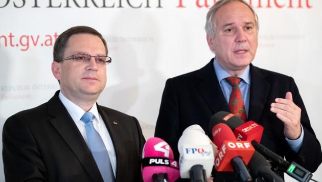 Die Klubobleute der Koalitionsparteien, August Wöginger (ÖVP) und Walter Rosenkranz (FPÖ)
