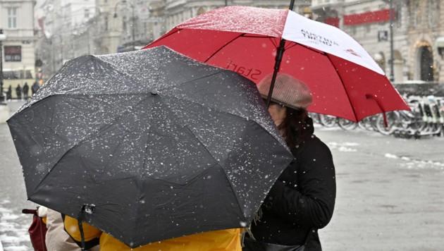 Schneefälle in Wien (Bild: APA/HANS PUNZ)