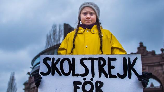 """Im Rahmen ihrer Protestaktion """"Schulstreik fürs Klima"""" demonstrierte Greta Thunberg seit 2018 jeden Freitag vor dem Reichstag in Stockholm. (Bild: AFP)"""