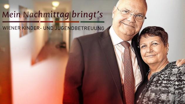 Harry Kopietz mit Ehefrau Brigitte (Bild: Gerhard Bartel, Starpix/Alexander Tuma, krone.at-Grafik)
