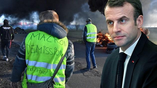 """Frankreichs Präsident Emmanuel Macron braucht nun für sein """"Gelbwesten""""-Sozialpaket frische Milliarden. (Bild: APA/AFP/PASCAL GUYOT, AP)"""