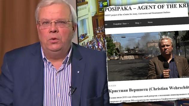 """Wehrschütz wird auf dieser Website (Ausriss) als """"Agent des Kreml"""" diffamiert. (Bild: ORF, posipaka.org, krone.at-Grafik)"""