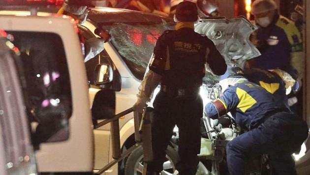 In Tokio fuhr ein 21-Jähriger mit einem Auto in der Silvesternacht gezielt in eine Menschenmenge. Bei dem Vorfall zehn Minuten nach Mitternacht auf einer belebten Straße der japanischen Hauptstadt wurden mindestens neun Menschen verletzt. (Bild: AFP)