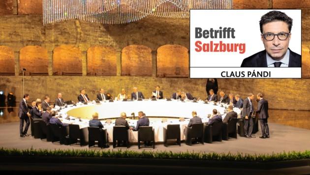 EU Gipfel Salzburg Abendempfang im Festspielhaus Salzburg Foto: Franz Neumayr 19.9.2018 Das gemeinsame Abendessen der Staatschefs auf der Bühne der Felsenreitschule im Festspielhaus (Bild: LPD/Franz Neumayr)