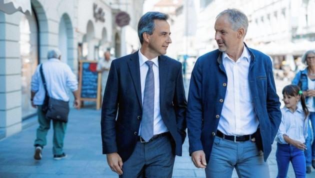 Bürgermeister Siegfried Nagl und sein langjähriger Sprecher und Gemeinderat Thomas Rajakovics. (Bild: ÖVP Graz)