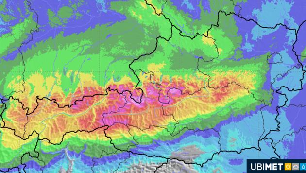 Hier werden laut UBIMET-Prognose die heftigsten Schneefälle am Wochenende erwartet - bis zu 200 Zentimeter sind möglich. (Bild: UBIMET)