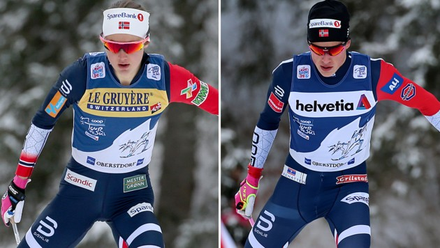 Ingvild Flugstad Östberg und Johannes Hösflot Kläbo (Bild: APA/AFP/dpa/Karl-Josef Hildenbrand)