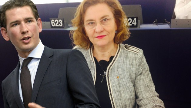 Die rumänische EU-Mandatarin Maria Grapini greift Kanzler Kurz an. (Bild: APA/Herbert Neubauer, twitter.com, krone.at-Grafik)