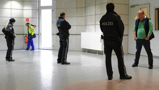 Die Streithähne wurden im Gericht von der Polizei getrennt. (Bild: Bartel Gerhard, krone.at-Grafik)