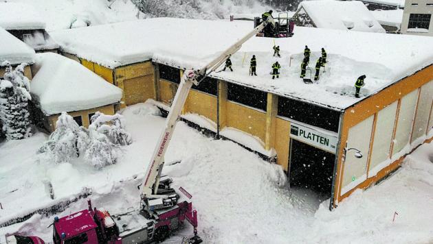 Firmendach Brach Unter Schneelast Zusammen Kroneat