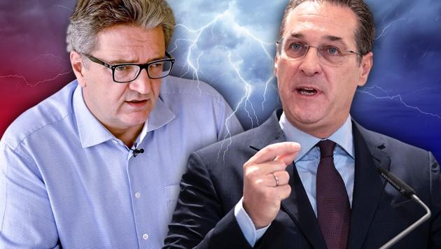 Wiens Sozialstadtrat Peter Hacker (SPÖ), Vizekanzler Heinz-Christian Strache (FPÖ) (Bild: APA/HERBERT PFARRHOFER, APA/GEORG HOCHMUTH, stock.adobe.com, krone.at-Grafik)