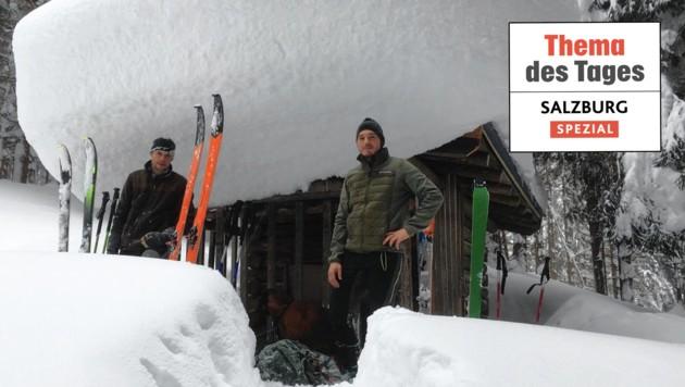 Georg Röck und Revierleiter Georg Krautgartner wagten sich in Taxenbach ins extreme Gelände und versorgten dort Wild als auch Jäger. (Bild: Georg Krautgartner)