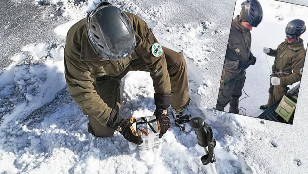 Vorbereitung einer Lawinensprengung in Dienten durch Heeresbergführer des Gebirgskampfzentrum aus Saalfelden. (Bild: Bundesheer)