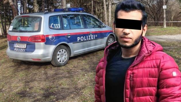 Yazan A. steht im Verdacht, eine 16-Jährige in Wiener Neustadt, seine Ex-Freundin, getötet zu haben. (Bild: APA/EINSATZDOKU/LECHNER, zVg, krone.at-Grafik)