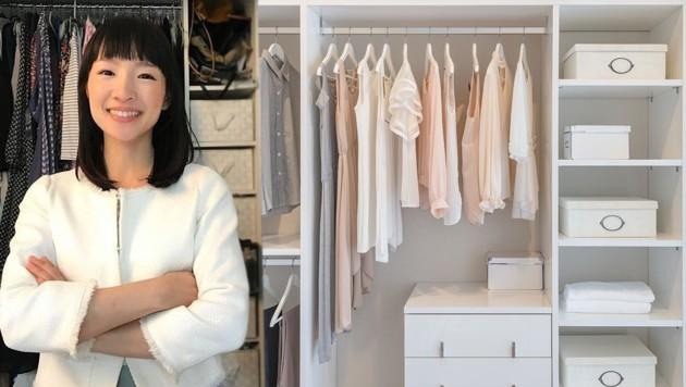 marie kondo bringt ordnung in ihren kleiderschrank. Black Bedroom Furniture Sets. Home Design Ideas