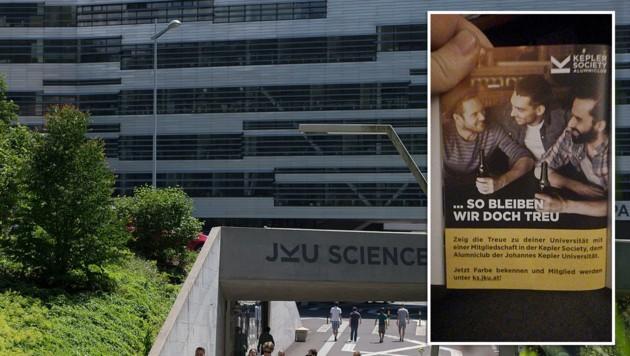 Diese Broschüre hat jetzt an der Linzer Johannes Kepler Universität personelle Konsequenzen. Der Geschäftsführer des Absolventenvereins musste zurücktreten. (Bild: wikipedia.org, facebook.com, krone.at-Grafik)