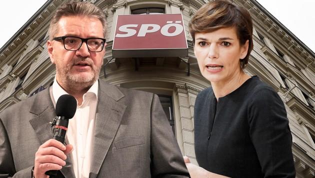 Wiens SPÖ-Stadtrat Peter Hacker und SPÖ-Bundesparteichefin Pamela Rendi-Wagner (Bild: APA/HELMUT FOHRINGER, APA/GEORG HOCHMUTH, APA/ROLAND SCHLAGER, krone.at-Grafik)