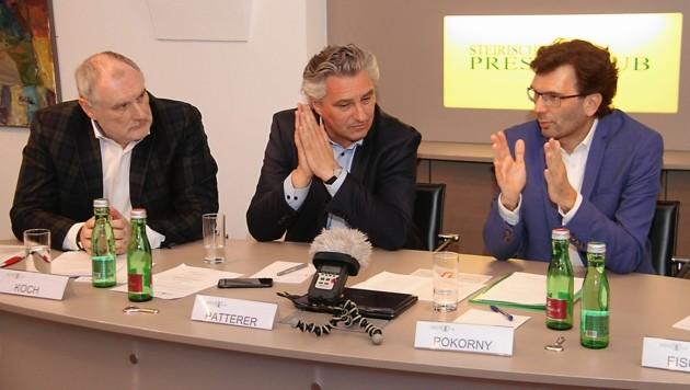 """Von links: Gerhard Koch (ORF), Hubert Patterer (""""Kleine Zeitung""""), Oliver Pokorny (""""Krone"""") (Bild: Jauschowetz Christian)"""