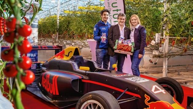 Patrick Friesacher (li.) mit Manfred und Katrin Hohensinner in der Frutura Gemüsewelt (Bild: Rene Strasser)