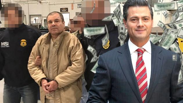 "Joaquin ""El Chapo"" Guzman (li.), Mexikos Ex-Präsident Enrique Pena Nieto (re.) (Bild: Interior Ministry of Mexico, AP, krone.at-Grafik)"
