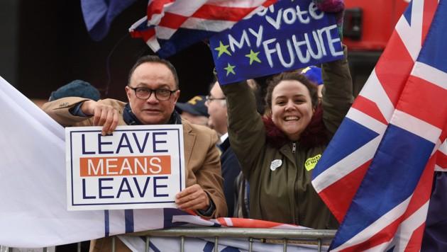 Das britische Volk ist gespalten: Der Demonstrant links besteht darauf, dass sein Land die EU verlässt. Die junge Gegendemonstrantin fordert, dass sie über ihre Zukunft bestimmen darf. (Bild: APA/AFP/Oli SCARFF)