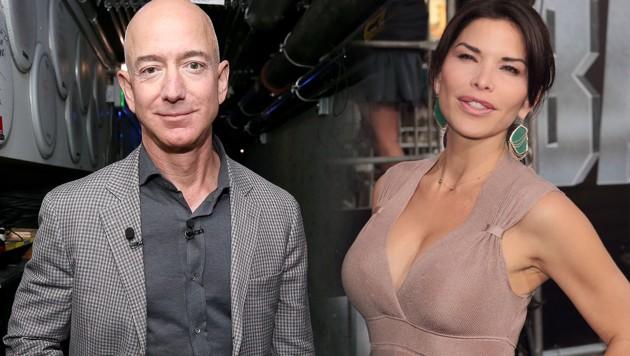 Jeff Bezos mit seiner neuen Freundin Lauren Sanchez (Bild: APA/AFP/Getty Images, www.pps.at, krone.at-Grafik)