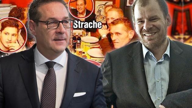 FPÖ-Chef Heinz-Christian Strache klagte Polit-Berater Rudolf Fußi (re.) wegen eines getwitterten Bildes, das den Vizekanzler in die Nähe der rechtsextremen Identitären gebracht hatte. (Bild: APA/HANS PUNZ, APA/GEORG HOCHMUTH, facebook.com, krone.at-Grafik)