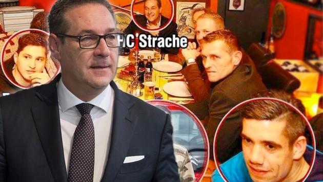 Vizekanzler Heinz-Christian Strache (FPÖ) klagte Polit-Berater Rudolf Fußi wegen dieses bearbeiteten Bildes, das aber keine Fälschung ist. (Bild: APA/GEORG HOCHMUTH, twitter.com, krone.at-Grafik)