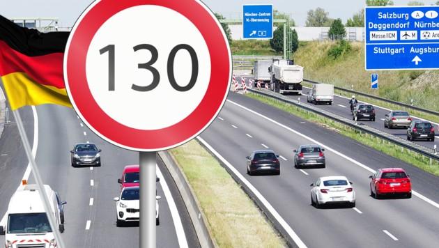 Während in Österreich immer öfter 140 km/h erlaubt sind, diskutiert Deutschland über eine 130er-Begrenzung. (Bild: stock.adobe.com, krone.at-Grafik)