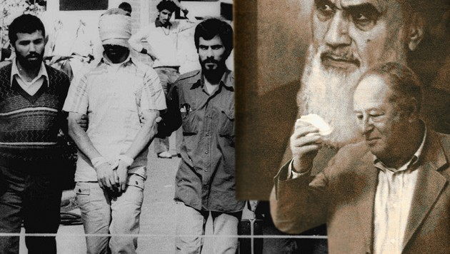 """Links eine Geisel in der US-Botschaft im Iran 1979; rechts ein Schnappschuß von """"Krone""""-Redakteur Kurt Seinitz in Teheran: Bundeskanzler Bruno Kreisky (krawattenlos) im Hexenkessel der iranischen Revolution vor dem Bild des Ayatollah Khomeini (Bild: Kurt Seinitz, AP, krone.at-Grafik)"""