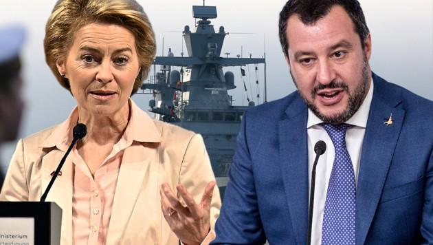 """Streit um EU-Mission """"Sophia"""" im Mittelmeer : Deutschlands Verteidigungsministerin Ursula von der Leyen und Italiens Innenminister Matteo Salvini (Bild: APA/dpa-Zentralbild, APA/HANS PUNZ, AP, krone.at-Grafik)"""