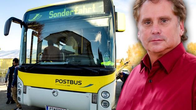 Postbus-Zentralbetriebsratschef Robert Wurm ist entsetzt über die Zustimmung seiner Gewerkschaft zum neuen Busfahrer-Kollektivvertrag. (Bild: APA/dpa/Angelika Warmuth, zVg, krone.at-Grafik)
