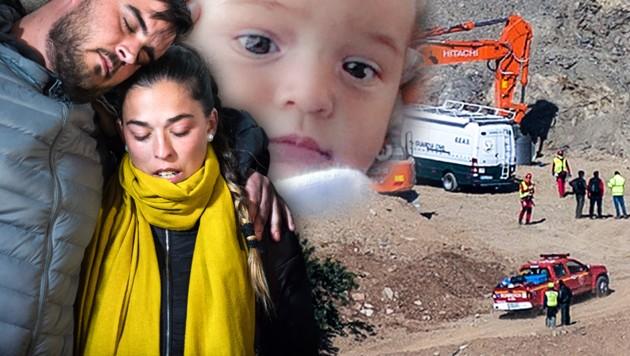 Die Eltern des zweijährigen Julen, Jose Rosello und Vicky Garcia, verfolgten am Unglücksort die Bergung ihres Sohnes. (Bild: AFP, zVg, krone.at-Grafik)
