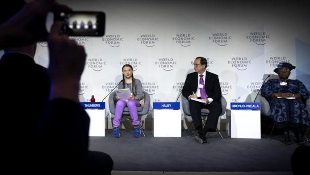 Die 16-jährige Greta Thunberg in Davos (Bild: APA/KEYSTONE/GIAN EHRENZELLER)