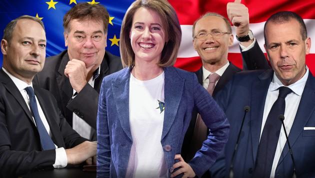 Die Spitzenkandidaten für die EU-Wahl (v.l.): Andreas Schieder (SPÖ), Werner Kogler (Grüne), Claudia Gamon (NEOS), Othmar Karas (ÖVP), Harald Vilimsky (FPÖ). Die Liste Jetzt hat sich noch nicht deklariert. (Bild: AFP, APA, stock.adobe.com, krone.at-Grafik)