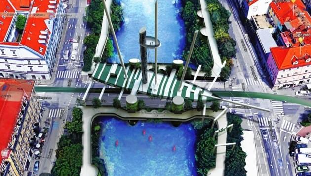 Brücke als Schiff - ein erstes Planspiel von Christian Gumpold und dem Campus 02, das eine Aussichtsplattform, Plattformen am Wasser, Lifte, eine Bar, vertikale Gärten usw. vorsieht. (Bild: DI(FH)Christian Gumpold/INNOLAB)