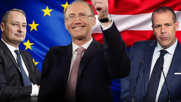 Die EU-Spitzenkandidaten Andreas Schieder (SPÖ), Othmar Karas (ÖVP) und Harald Vilimsky (FPÖ, v.l.) (Bild: AFP, APA, stock.adobe.com, krone.at-Grafik)