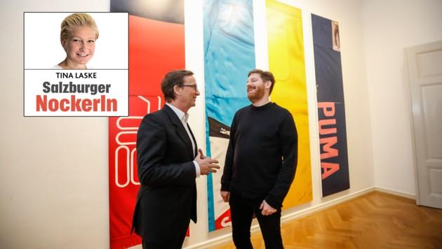 Galerist Thaddaeus Ropac im Gespräch mit Cory Arcangel (Bild: Markus Tschepp)