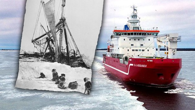 (Bild: South African National Antarctic Programme, Royal Geographic Society (gemeinfrei), krone.at-Grafik)