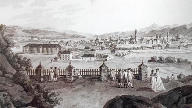 Die Stadt Klagenfurt um 1850: Klein, schön, aber nur umständlich zu erreichen.