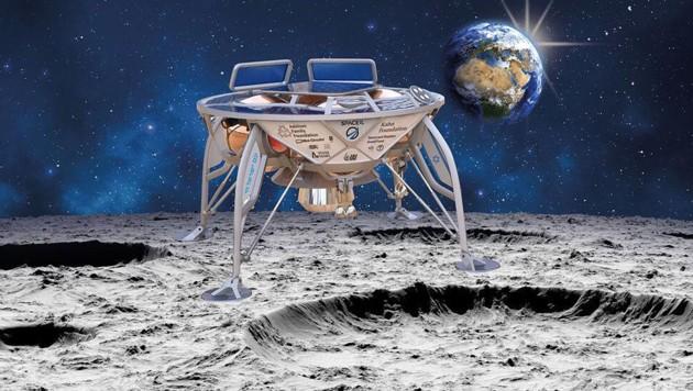 """""""Beresheet"""" auf dem Mond (künstlerische Illustration) (Bild: SpaceIL)"""