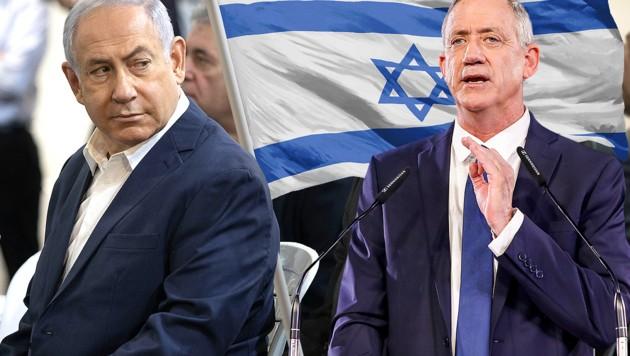 Benjamin Netanyahu (li.), Benny Gantz (Bild: AFP, stock.adobe.com, krone.at-Grafik)