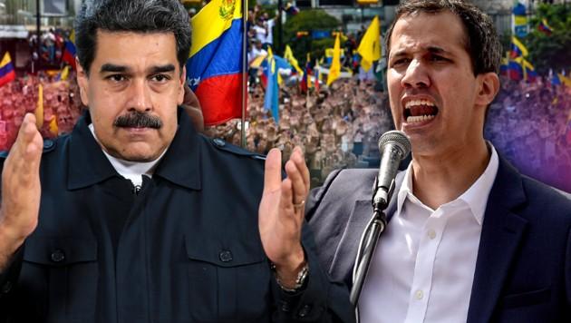 Venezuelas Präsident Nicolas Maduro und sein Kontrahent Juan Guaido (Bild: APA/AFP, AFP, krone.at-Grafik)