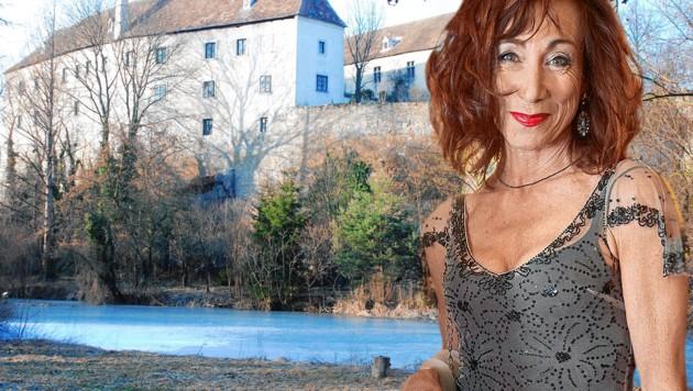 """Das Schloss von Andrea Eckert. Sie dreht nun die 4. Staffel der """"Vorstadtweiber"""". (Bild: starpix/Alexander TUMA, Wikipedia, krone.at-Grafik)"""