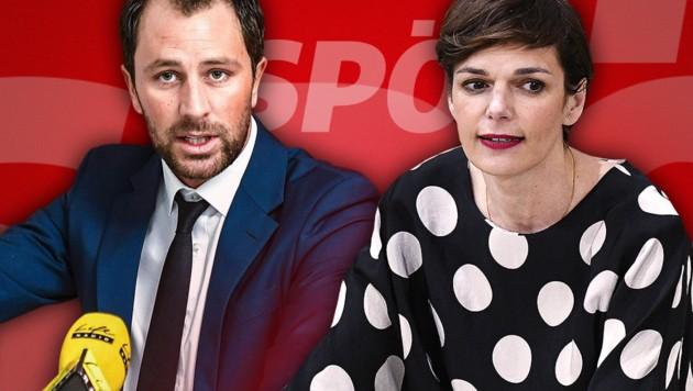 SPÖ-Parteichefin Pamela Rendi-Wagner erhält unerwartete Rückendeckung des Tirolers Georg Dornauer. (Bild: APA/EXPA/JAKOB GRUBER, APA/HANS PUNZ, krone.at-Grafik)