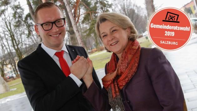 Georg Djundja und Sabine Mayrhofer wollen Langzeit-Stadtchef Peter Schröder beerben (Bild: Markus Tschepp)